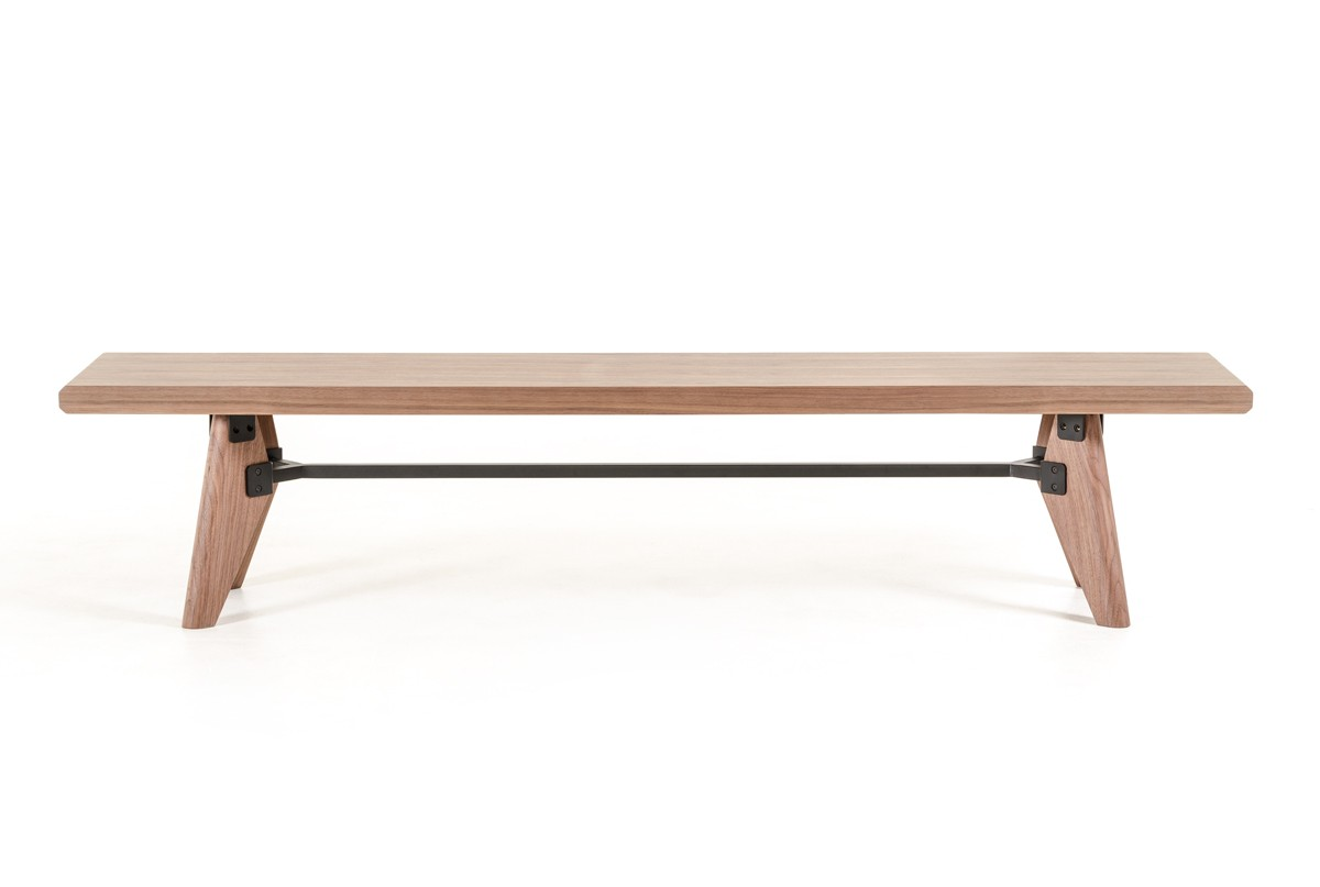 This is a picture of a brand new mid century modern dining bench thats available at AdvancedInteriorDesigns.com