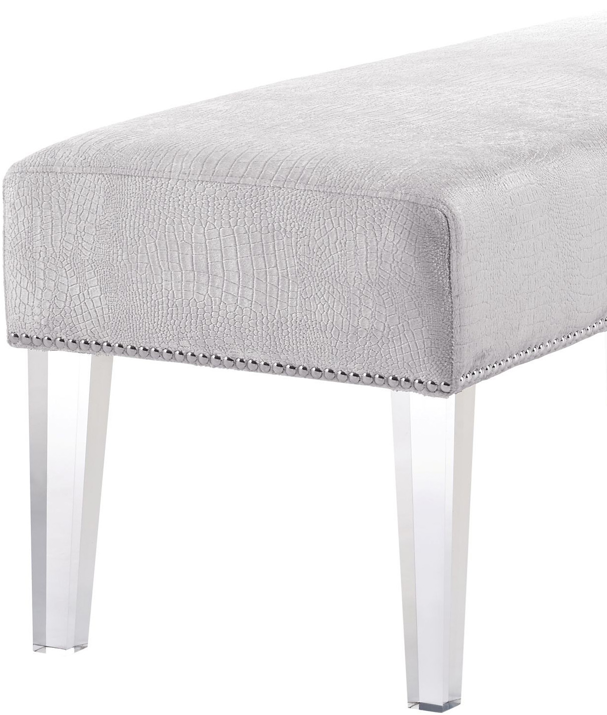 the mirage crocodile bench in silver
