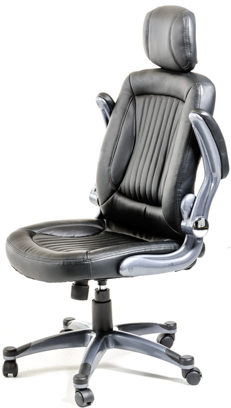 Check out the new modern black office chair featuring headrest and padded armrests for maximum comfort.