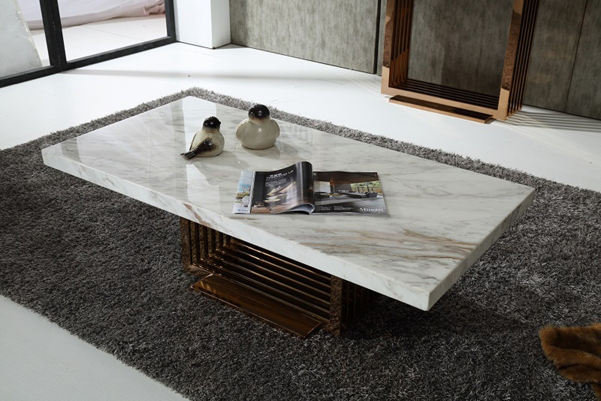 low priced modern white marble coffee table