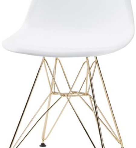 the nuevo max dining chair in white and gold