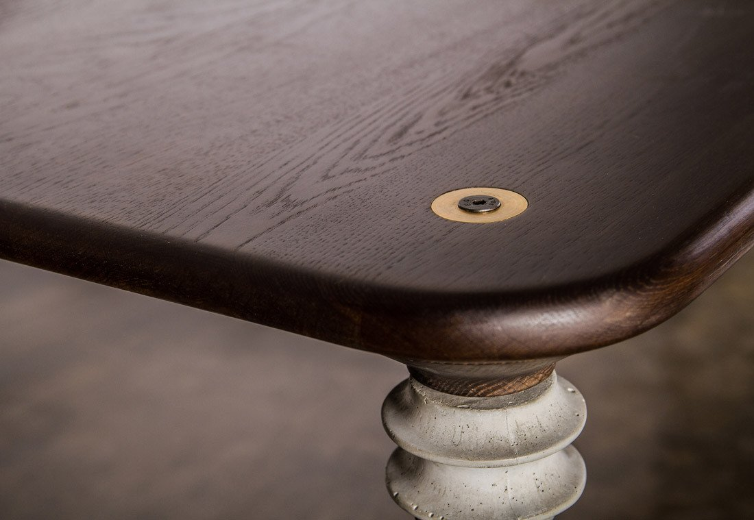 The charred black oak kimbell dining table by nuevo living
