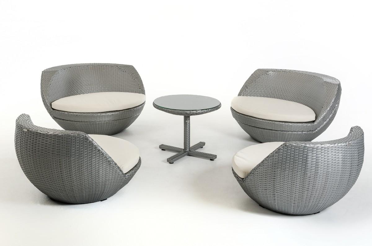 Silver Patio Furniture.Stinson Silver Wicker 5pc Patio Set