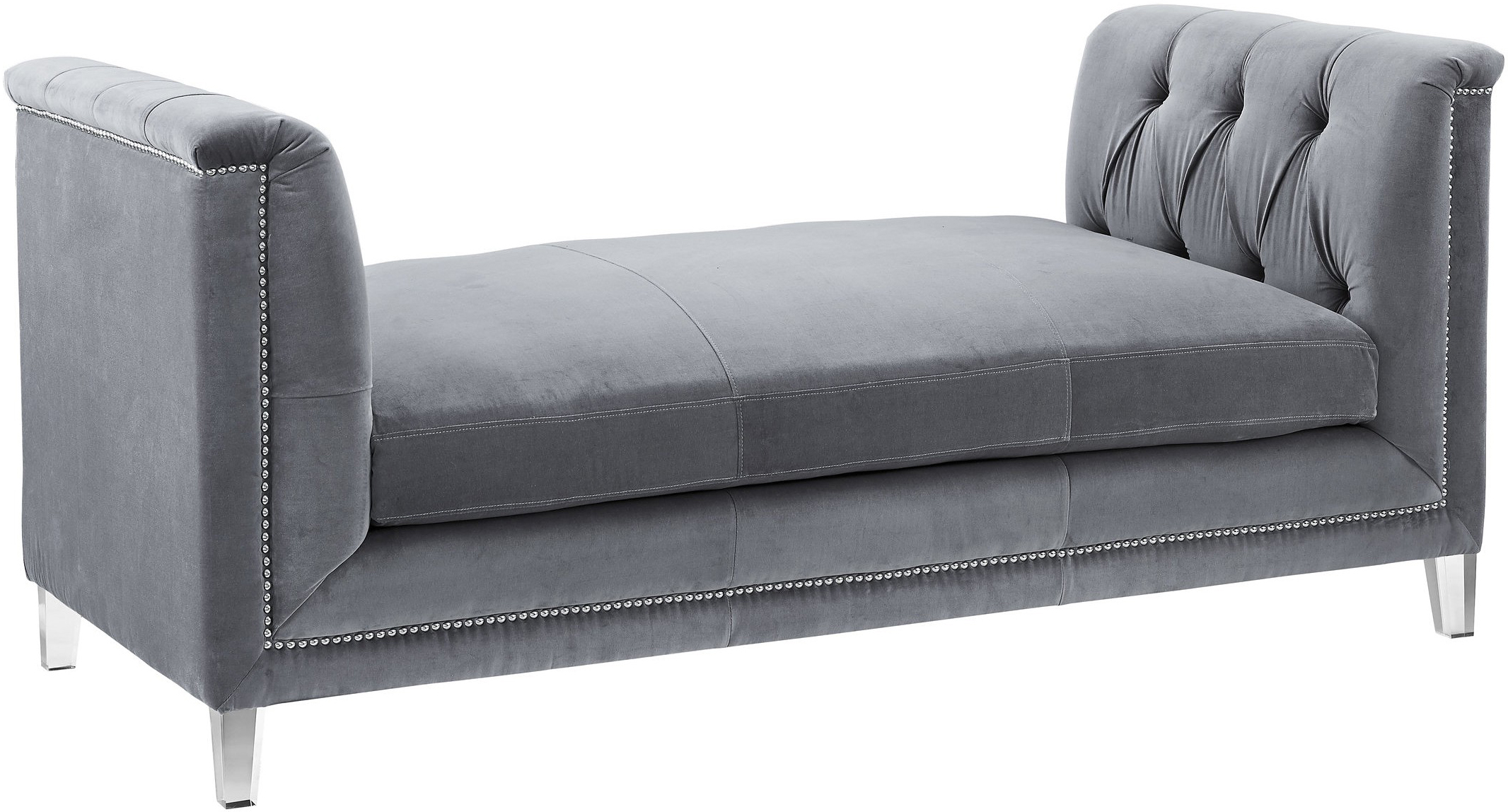 the presidio bench daybed in grey velvet