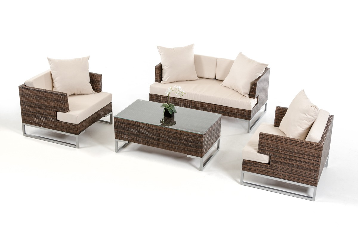 rattan brown sofa set