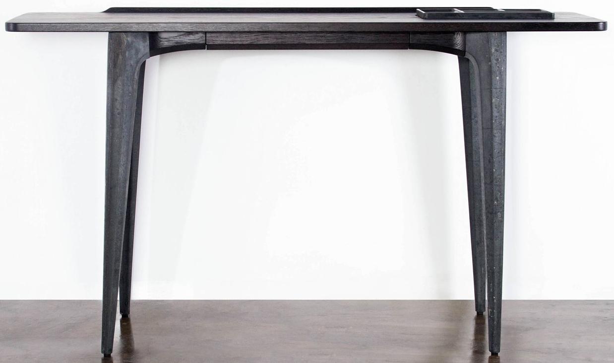 nuevo living salk console table seared oak in acid black