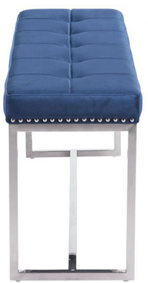 side profile of the synchrony velvet bench