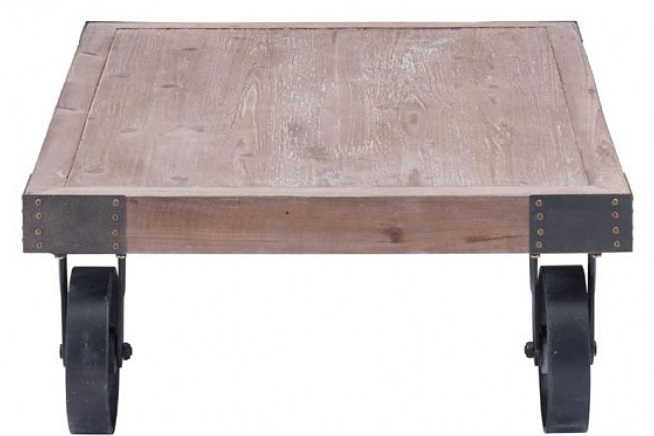 side shot of an industrial coffee table