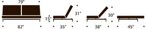 splitback sofa bed measurements
