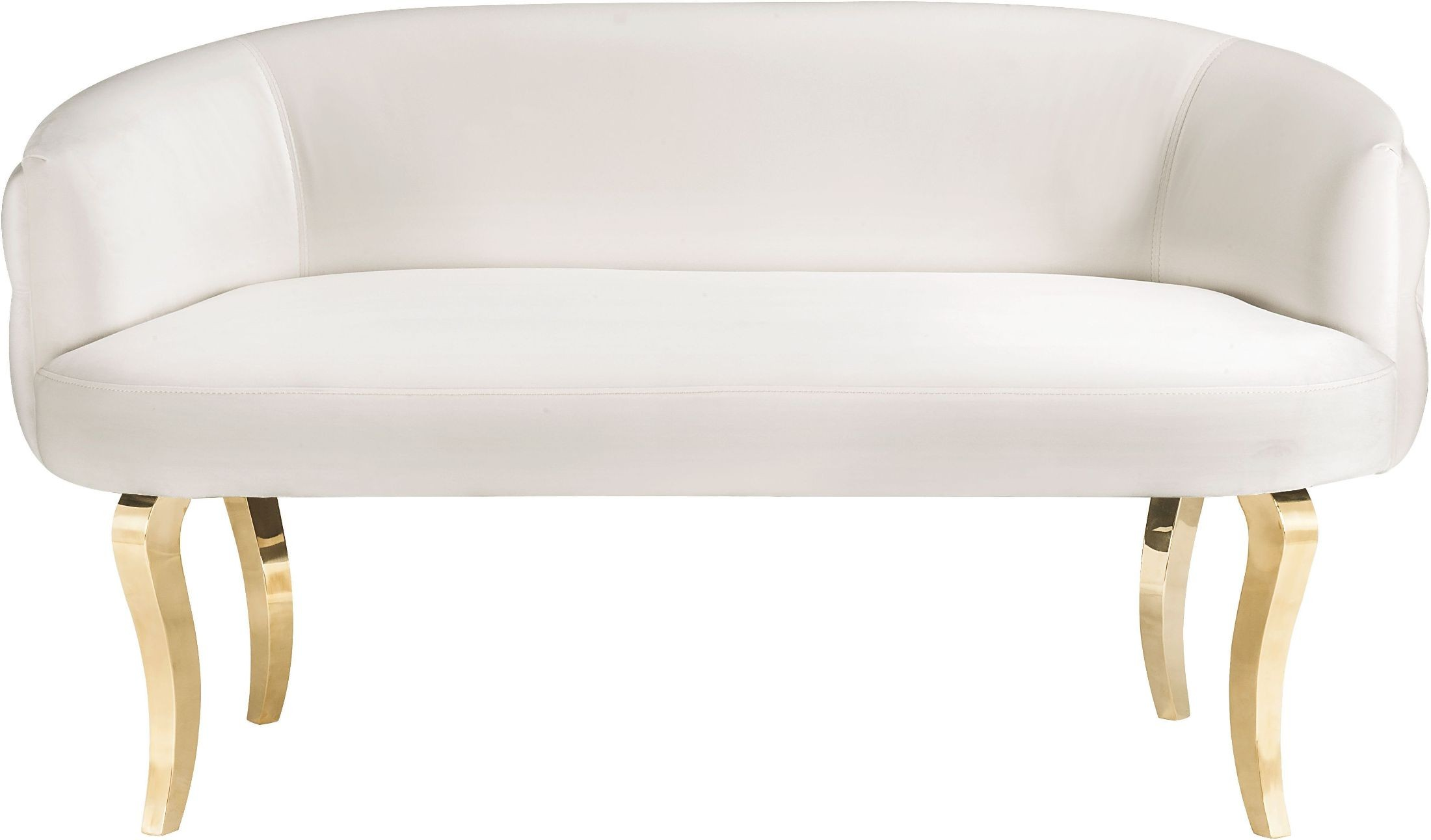 the taylor white velvet loveseat with gold legs