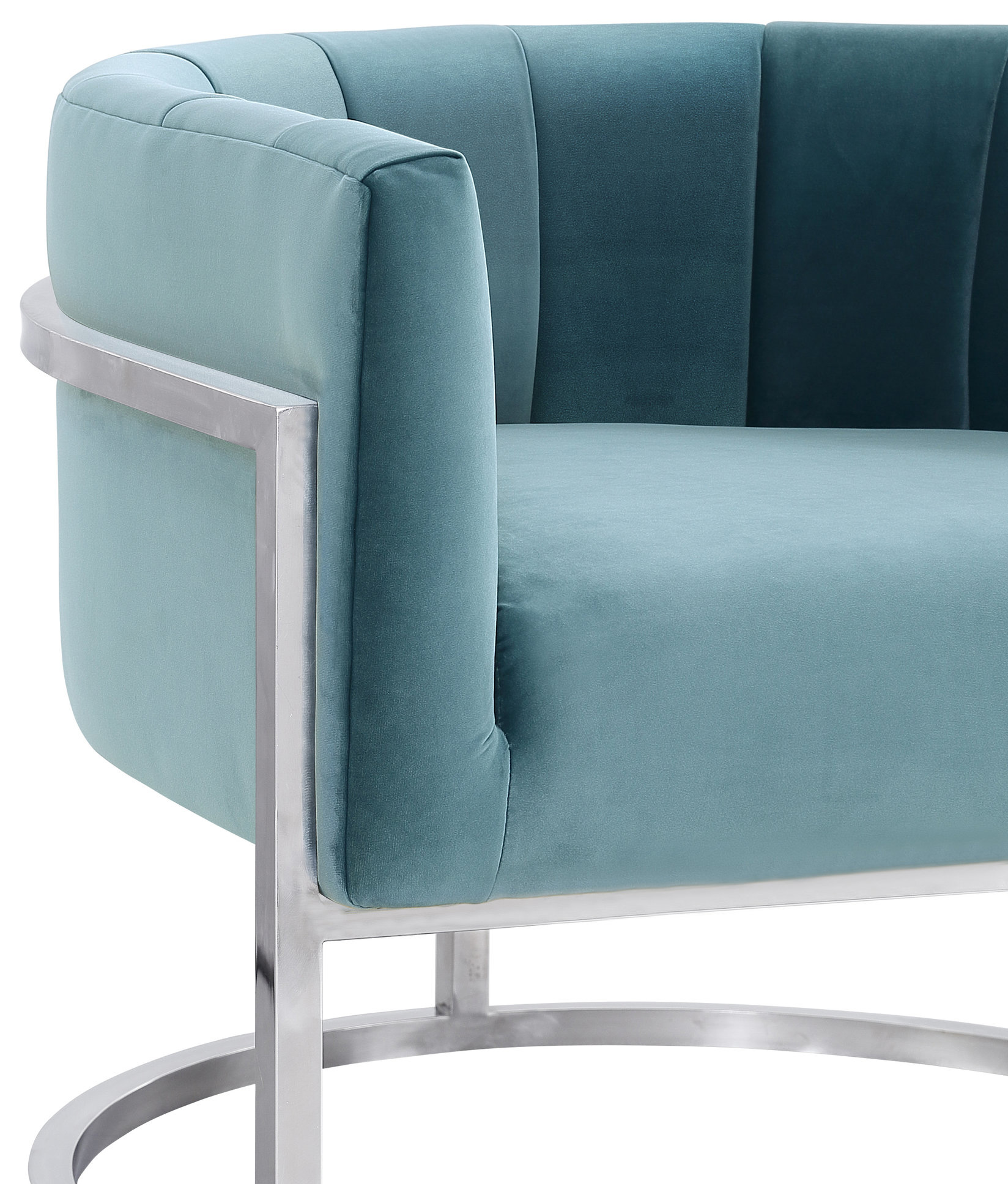 Chandler Sea Blue Chair With Silver Base