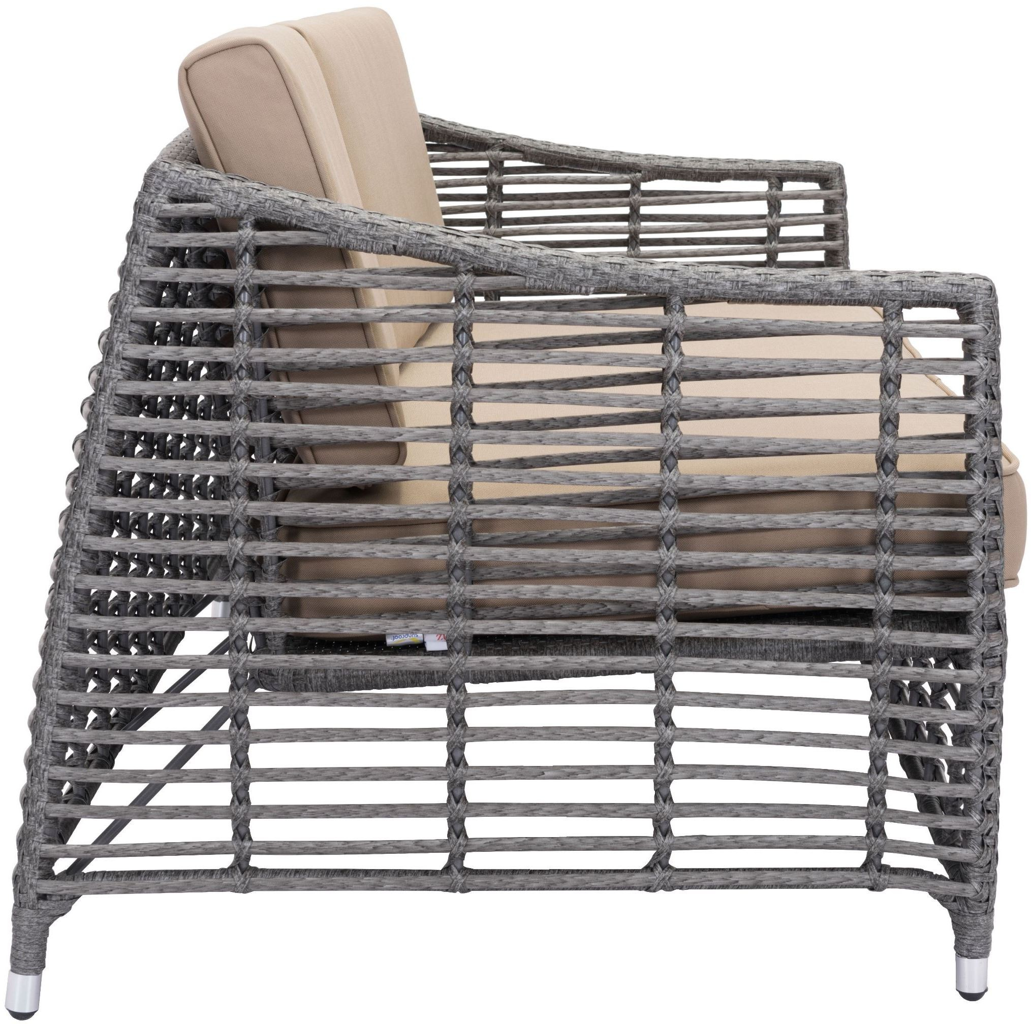 zuo modern trek beach sofa gray beige
