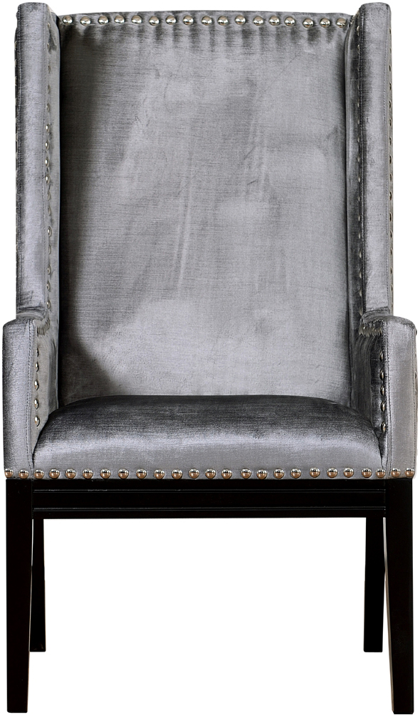 the velvet orianna arm chair in grey