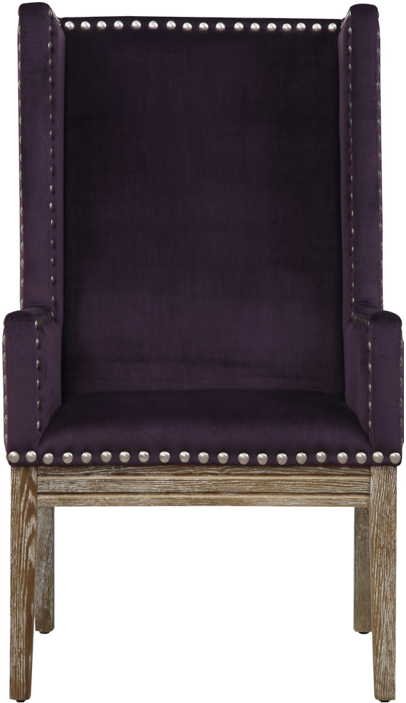 the velvet orianna arm chair in purple