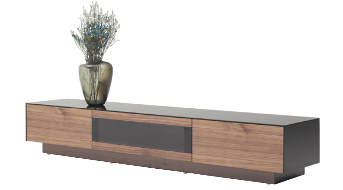 The Bruce Walnut Finish TV Stand is available now at AdvancedInteriorDesigns.com