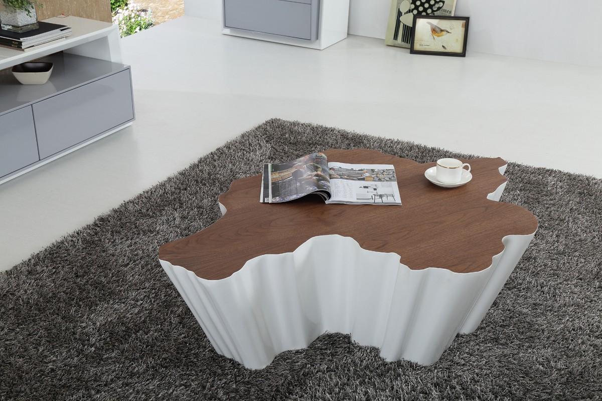 wayne white and walnut coffee table