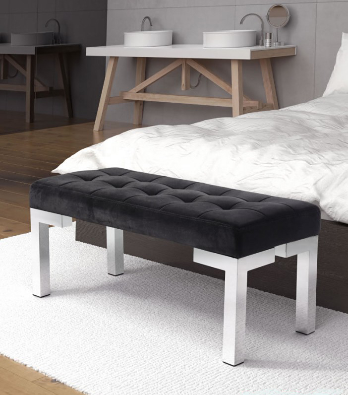 find a black velvet bench at advanced interior designs