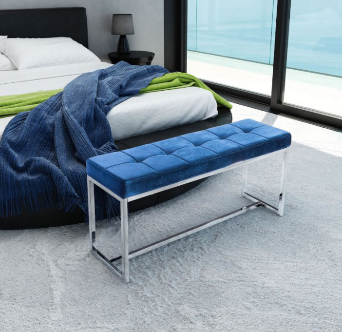The new blue velvet bench by zuo available at advancedinteriordesigns.com
