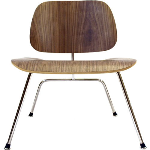 Molded Plywood Lounge Chair W Metal Legs Walnut