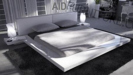 Japanese Style Platform Bed Queen Glossy White