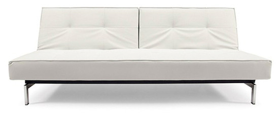 Split Back Armless Sofa With Steel Legs - White Leather