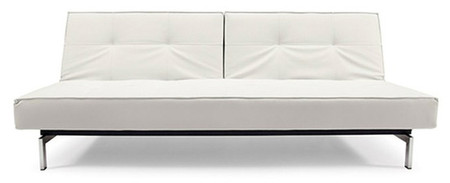 Split Back Armless Sofa With Steel Legs White Leather
