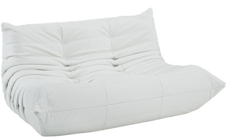 Downlow Loveseat White Leather