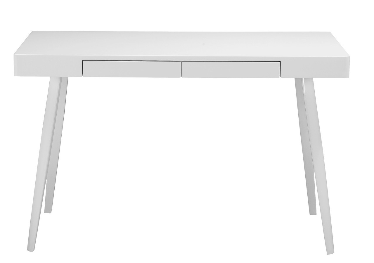 Griffin Two Drawer Modern Desk Glossy White