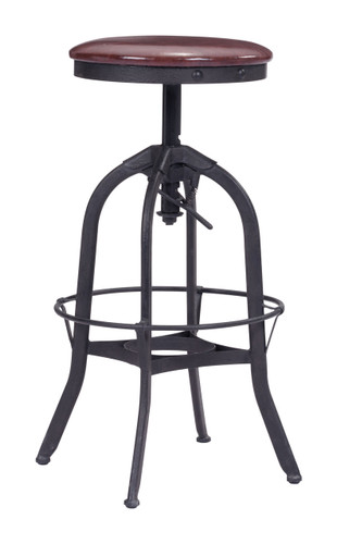 Crete Barstool Burgundy & Antique Black
