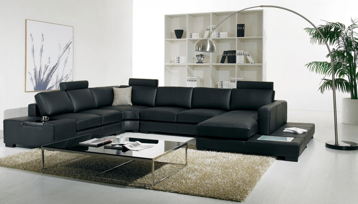 Amadeo Nero Contemporary Sectional Sofa Bonded Leather