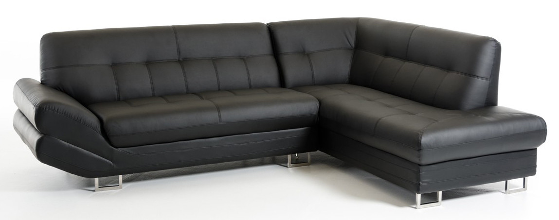 Arianna Nero Contemporary Sofa Sectional Bonded Leather
