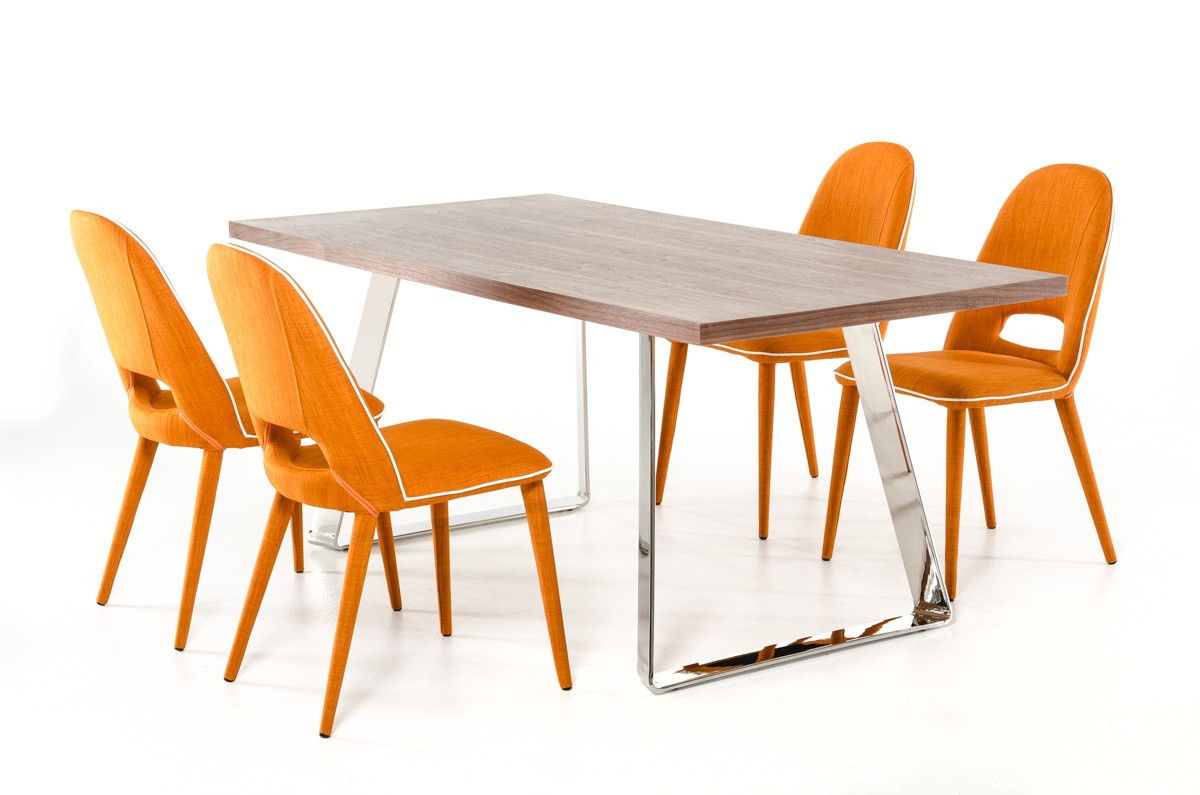 Kenneth Orange Fabric Dining Chairs