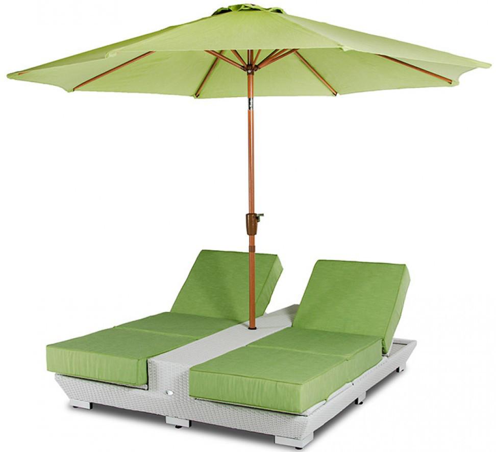Daytona Green Lounge Chairs With Umbrella Outdoor Patio