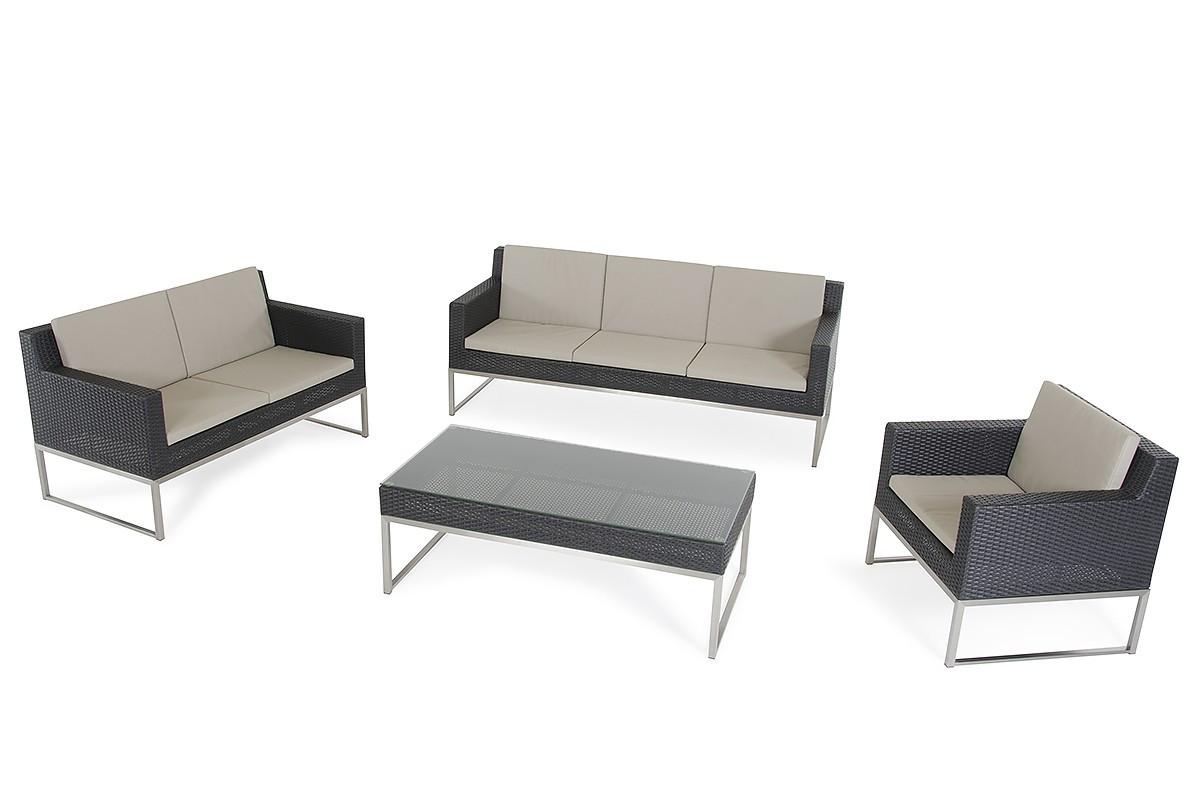 Fakistra Black Rattan Sofa Set