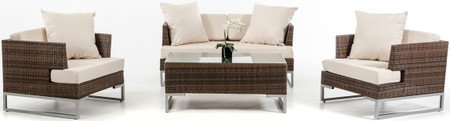 brown rattan sofa set