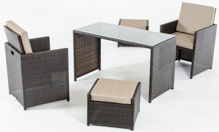 rattan 5 piece dining set