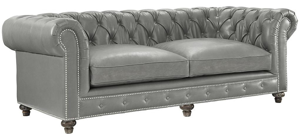 Chesterfield Rustic Grey Leather Sofa