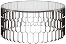 Nuevo Living Jewel Coffee Table In Polished Black Stainless Steel With A Round Glass Top