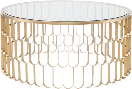 Nuevo Living Jewel Coffee Table In Brushed Gold Stainless Steel With A Round Glass Top
