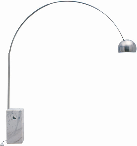 Cora Floor Lamp Made With White Marble And Brushed Stainless Steel