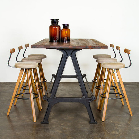 Kosen Dining Table Made With Reclaimed Hard Wood And A Cast Iron Base
