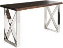 Aix Console Made With Seared Oak And High Polished Stainless Steel