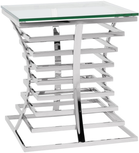 Qubix Side Table Polished Stainless Steel