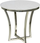 Aurora Side Table In Stainless Steel With A Round Marble Top