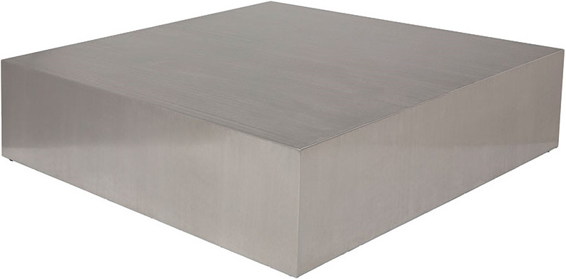 Low Profile Square Coffee Table Brushed Stainless Steel