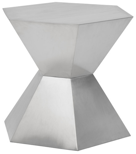 Hexa Tapered Side Table Brushed Stainless Steel