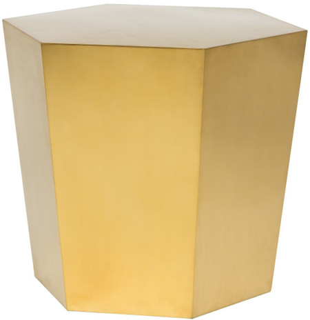 Nuevo Hexa Side Table In Brushed Gold
