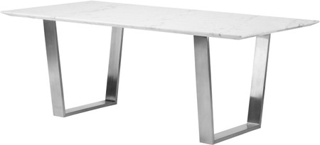 Catrine Dining Table White Stainless Steel