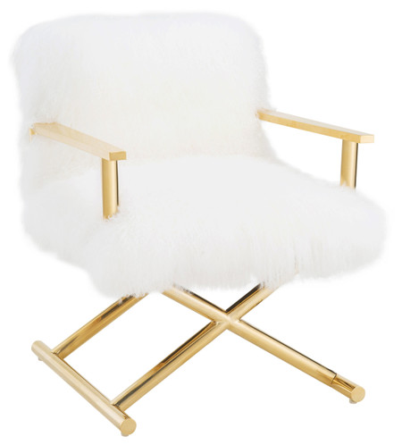 TOV Snow White Sheepskin Chair
