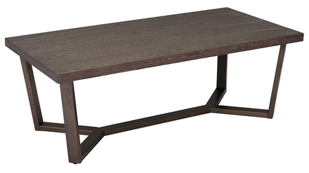 Brooklyn Coffee Table Gray Oak & Antique Brass